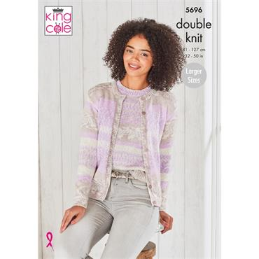 King Cole Pattern #5696 Round Neck Cardigan & Round Neck Sweater in Fjord DK
