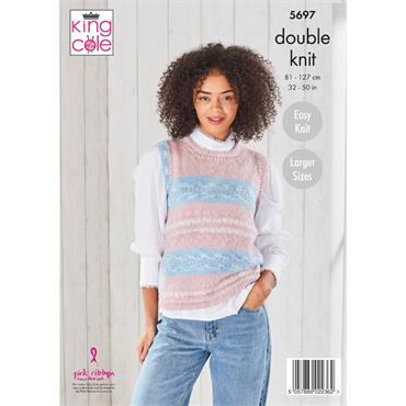 King Cole Pattern #5697 Ladies Round & V Neck Tank Tops in Fjord DK