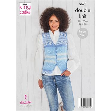 King Cole Pattern #5698 V Neck Cardigan & Waistcoat in Fjord DK