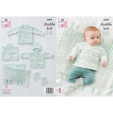 King Cole Pattern #5699 Cardigan, Waistcoat, Hoody, Blanket & Booties in Double Knitting