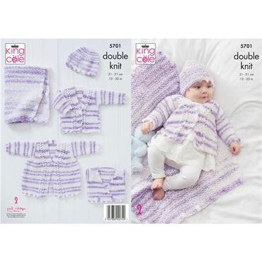 King Cole Pattern #5701 Matinee Coat, Cardigan, Crossover, Hat & Blanket in Double Knitting