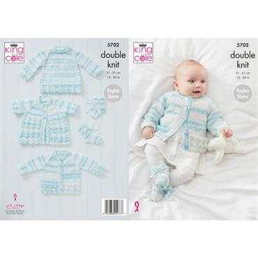 King Cole Pattern #5702 Cardigan, Matinee Coat, Sweater & Bootees in Baby Stripe DK