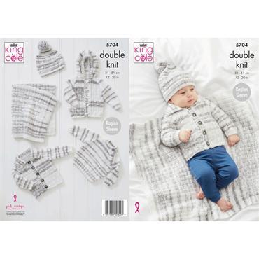 King Cole Pattern #5704 Blanket, Sweater, Jackets & Hat in Baby Stripe DK