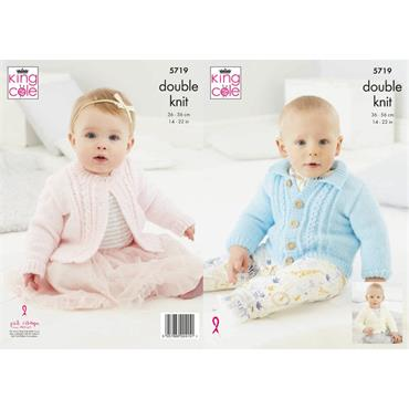 King Cole Pattern #5719 Round Neck, Collared & V Neck Cardigans in Big Value Baby DK
