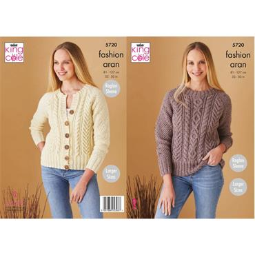 King Cole Pattern #5720 Sweater & Cardigan in Fashion Aran
