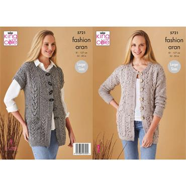 King Cole Pattern #5721 Waistcoat & Jacket in Fashion Aran