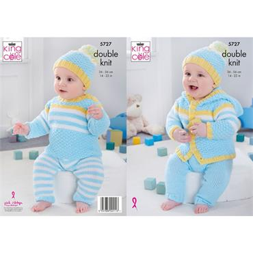 King Cole Pattern #5727 Baby Set in Double Knit