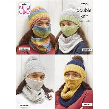 King Cole Pattern #5730 Face Coverings & Hats in DK