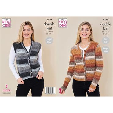 King Cole Pattern #5739 Cardigan And Waistcoat in Bramble DK