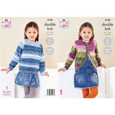 King Cole Pattern #5740 Cardigan And Sweater in Bramble DK