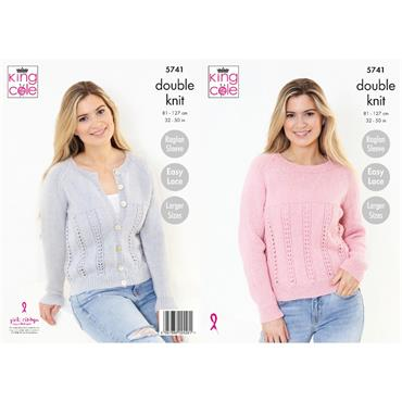 King Cole Pattern #5741 Cardigan And Sweater in Subtle Drifter DK