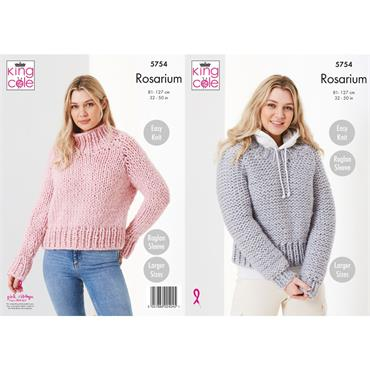 King Cole Pattern #5754 Round & Stand Up Neck Sweaters in Rosarium Mega Chunky