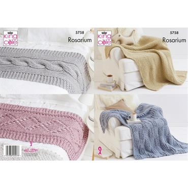 King Cole Pattern #5758 Blankets & Bed Runners in Rosarium Mega Chunky
