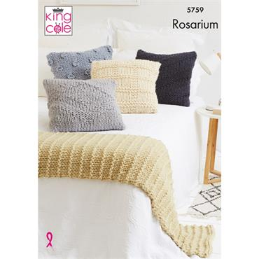 King Cole Pattern #5759 Cushions & Bed Runner in Rosarium Mega Chunky