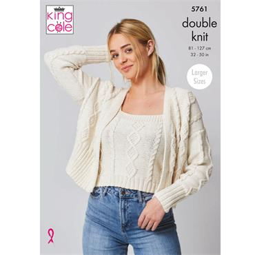 King Cole Pattern #5761 Top & Cardigan in Cottonsoft DK
