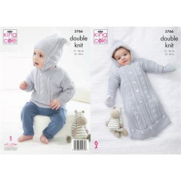 King Cole Pattern #5766 Sleeping Bag, Sweater, Hat and Mittens in Baby Safe DK