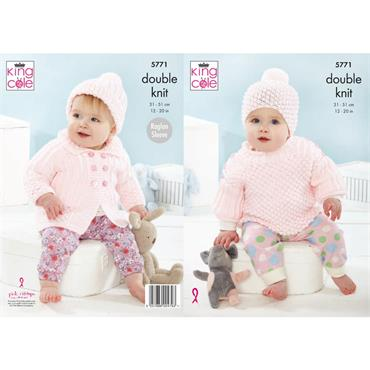 King Cole Pattern #5771 Coat, Top & Hats in Baby Safe DK