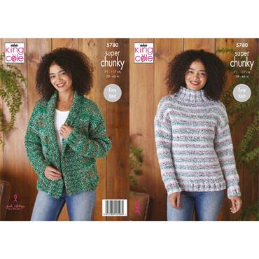 King Cole Pattern #5780 Cardigan & Sweater in Christmas Super Chunky