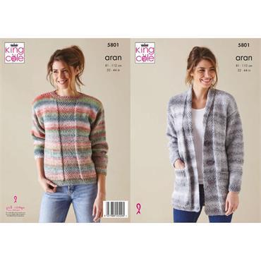 King Cole Pattern #5801 Cardigan & Sweater in Acorn Aran
