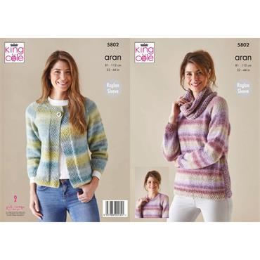 King Cole Pattern #5802 Cardigan, Sweater & Cowl in Acorn Aran