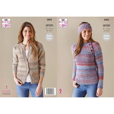 King Cole Pattern #5803 Cardigan, Sweater & Headband  in Acorn Aran
