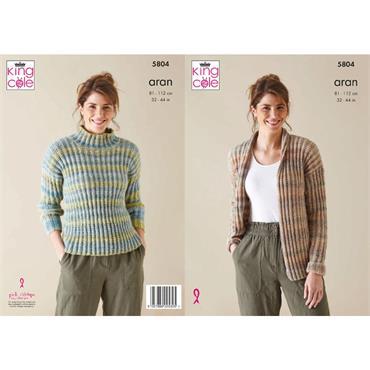King Cole Pattern #5804 Jacket & Sweater in Acorn Aran