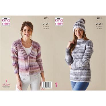 King Cole Pattern #5805 Sweater, Cardigan & Hat in Acorn Aran