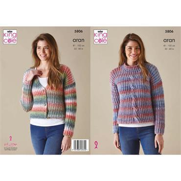 King Cole Pattern #5806 Sweater & Cardigan in Acorn Aran