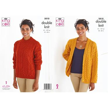 King Cole Pattern #5810 Sweater And Cardigan in Merino DK