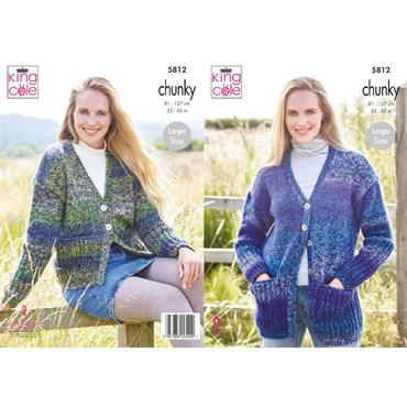 King Cole Pattern #5812 Ladies Cardigans in Autumn Chunky