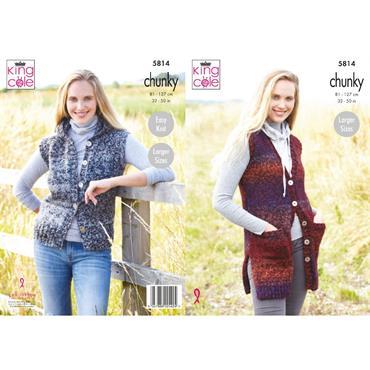 King Cole Pattern #5814 Ladies Waistcoats in Autumn Chunky