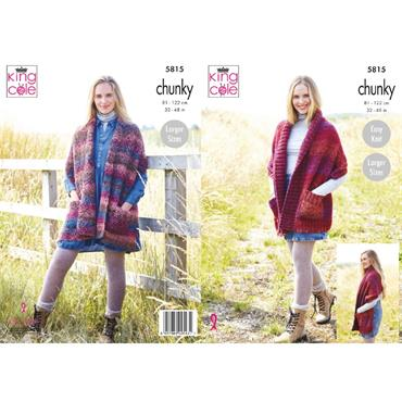King Cole Pattern #5815 Ladies Shawls in Autumn Chunky