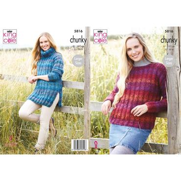 King Cole Pattern #5816 Ladies Sweater And Tunic in Autumn Chunky