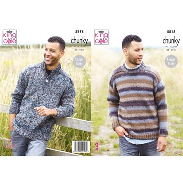 King Cole Pattern #5818 Mens Sweaters in Autumn Chunky