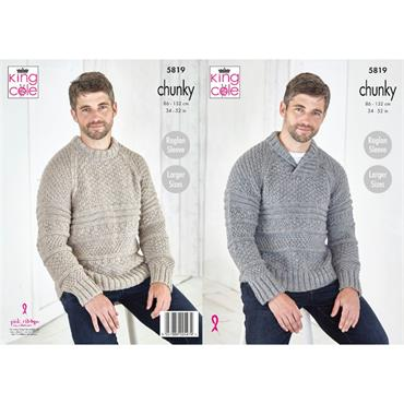 King Cole Pattern #5819 Sweaters in Big Value Chunky
