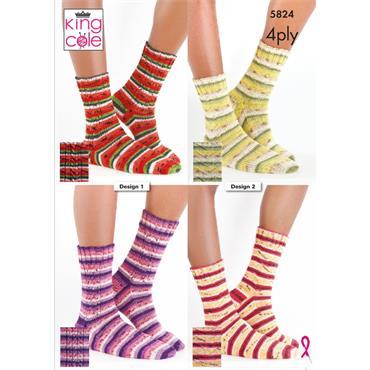 King Cole Pattern #5824 Socks in Footsie 4Ply
