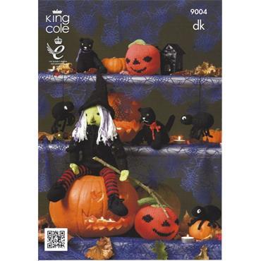 King Cole Pattern #9004 Halloween Witch, Pumpkin, Spider & Cat in DK