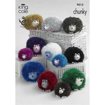 King Cole Pattern #9015 Knit Hedgehog Toys in Tinsel  ***