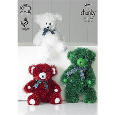 King Cole Pattern #9021 Knit Teddy Bears in Tinsel