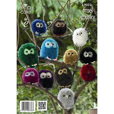 King Cole Pattern #9022 Knit Tinsel Owls