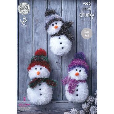 King Cole Pattern #9030 Tinsel Chunky Snowmen