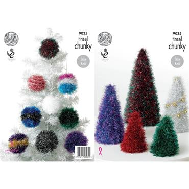 King Cole Pattern #9035 Christmas Trees & Baubles in Tinsel