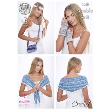 King Cole #9038 Crochet Accessories Pattern in DK