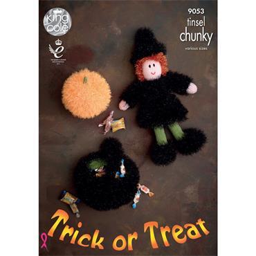 King Cole Pattern #9053 Tinsel Halloween, Witch, Pumpkin & Cauldron