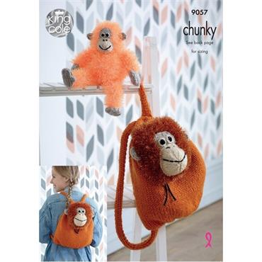 King Cole Pattern #9057 Orangutan Toy & Backpack in Tinsel