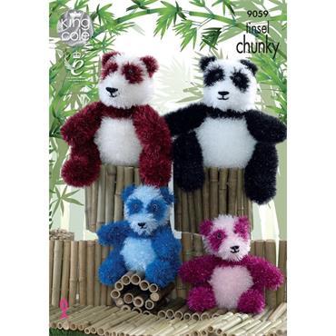 King Cole Pattern #9059 Pandas in Tinsel