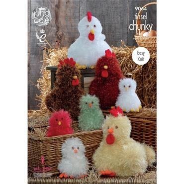 King Cole Patt #9064 Hens & Chicks in Tinsel with any yarn value €25 which includes Tinsel