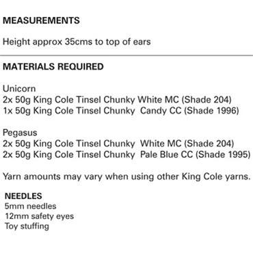 King Cole Pattern #9065 Unicorn & Pegasus in Tinsel