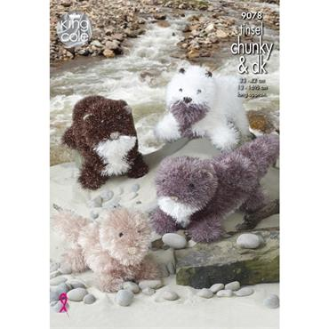 King Cole Pattern #9078 Otter Toys Knitted in Tinsel