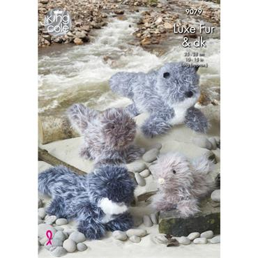 King Cole Pattern #9079 Otter Toys Knitted in Luxe Fur
